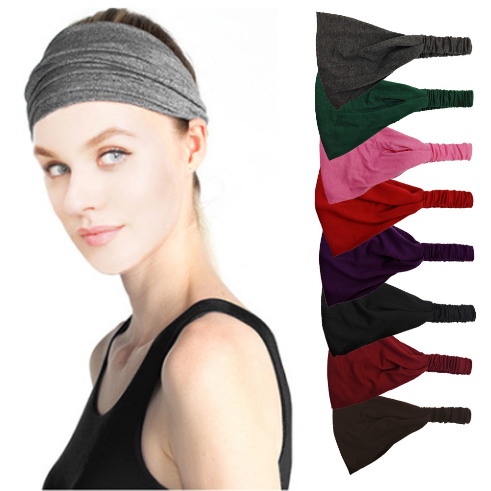 Women Lady Solid Color Lace Wide Elastic Headband Bandanas Head Wraps Sports Hairband Hair Band YOGA Absorb Sweat Belt Tape