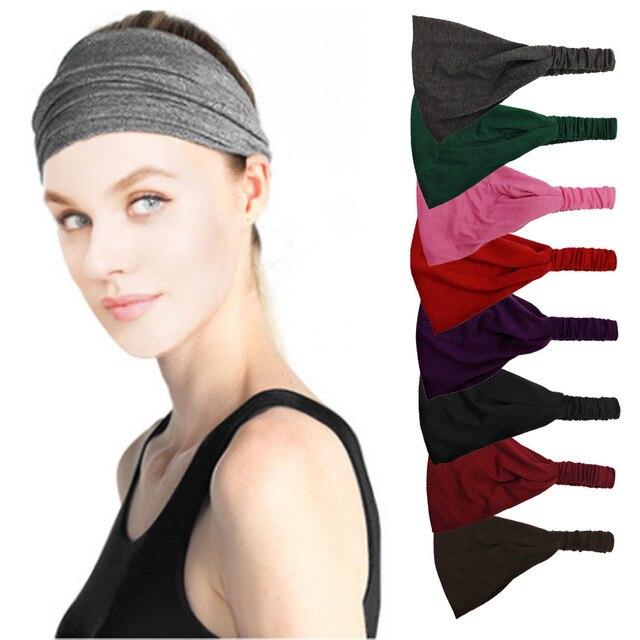 Women Lady Solid Color Lace Wide Elastic Headband Bandanas Head Wraps Sports Hairband Hair Band YOGA Absorb Sweat Belt Tape