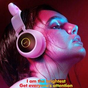 Image 3 - HOCO LED หูฟังบลูทูธสาวชุดหูฟังสำหรับโทรศัพท์ PC แล็ปท็อปเด็กหูฟัง TF Card 3.5 มม.ปลั๊กไมโครโฟน