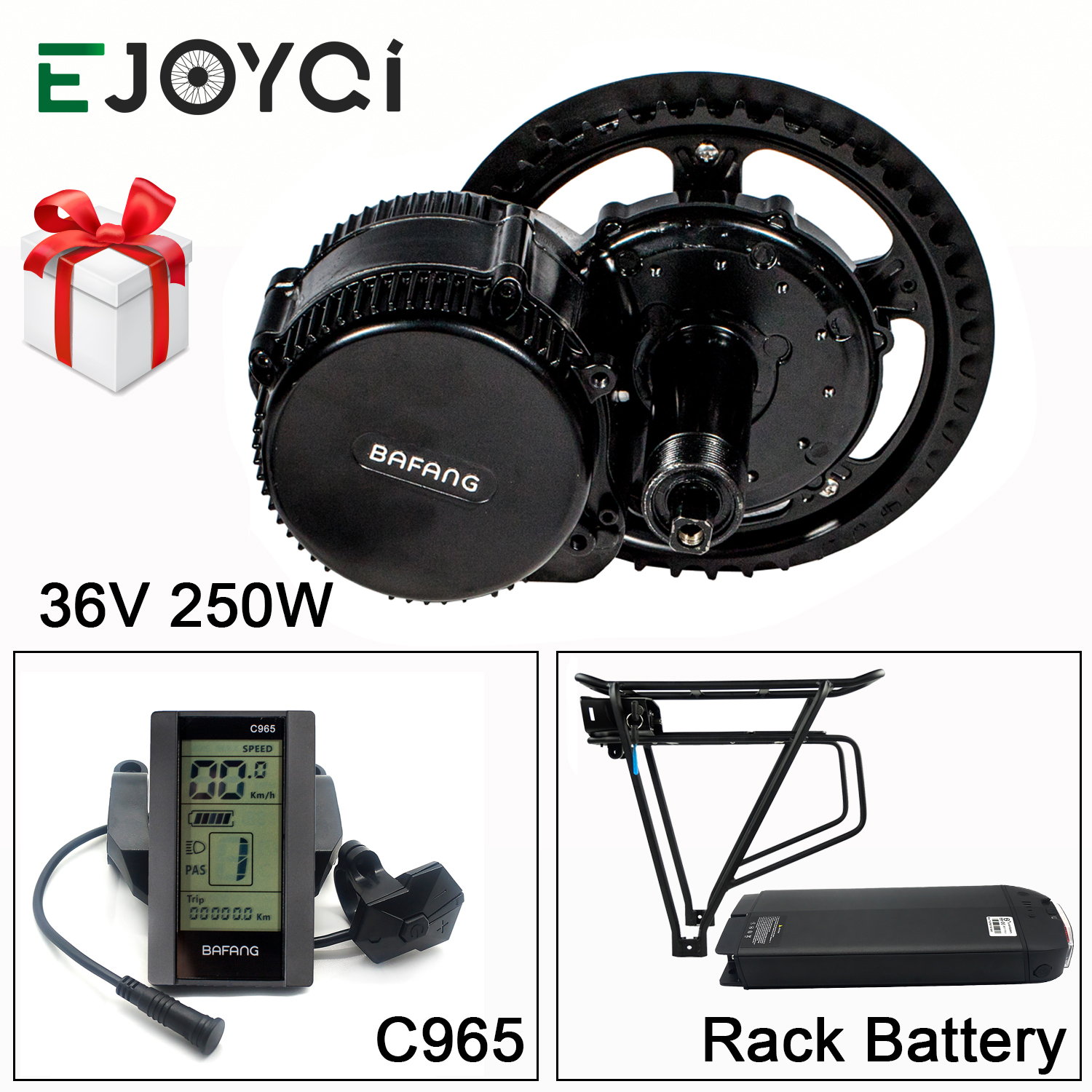 Bafang 8FUN 36V 250W BBS01B MMG340 16Ah Rack Battery 850C SW102 Mid Drive Motor Ebike Conversion Kit with Light image