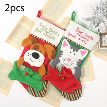 Get more info on the 2pcs New Christmas decorations for home Christmas stockings tree pendants  kittens dog socks gift bags christmas gift bags