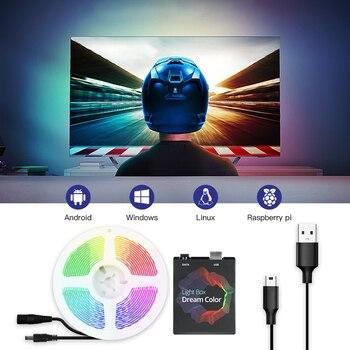 USB Ambilight TV Backlight Flexible Light Dynamic Smart RGB LED Strip Kit For Desk Screen PC TV Background Lighting