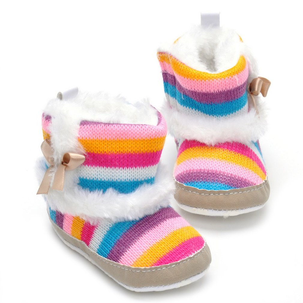 Infant First Walkers Winter Baby Boots Soft Sole Antiskid Shoes Casual Shoes Thickened Winter Shoes With Bowknot Striped Rainbow