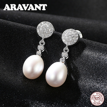 купить 925 Sterling Silver Round Pave Zircon Freshwater Pearl Long Drop Earrings For Women Wedding Party Pearl Jewelry 3 Colors дешево