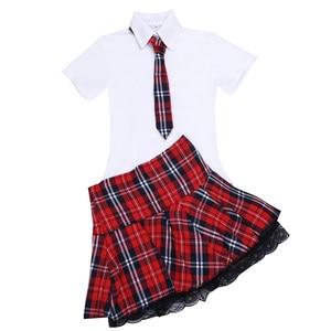 Image 4 - セクシーな女性のエロランジェリー日本の女子高生のロールプレイング衣装女子校生制服シャツ & ミニスカートネクタイハロウィンコスプレ
