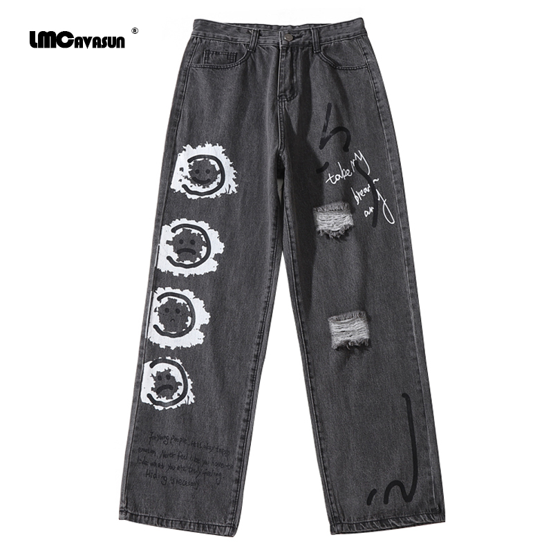 LMCAVASUN Smiley pattern graffiti ripped jeans men High street Harajuku style hip-hop jeans Casual loose straight denim trousers