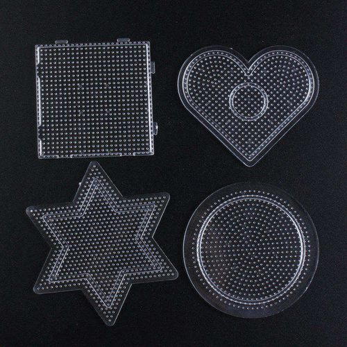 4pcs/set 2.6mm Hama Beads Pegboard 3d Puzzle Perler Beads Diy Transparent Shape Puzzle Template Personalized Jigsaw(China)
