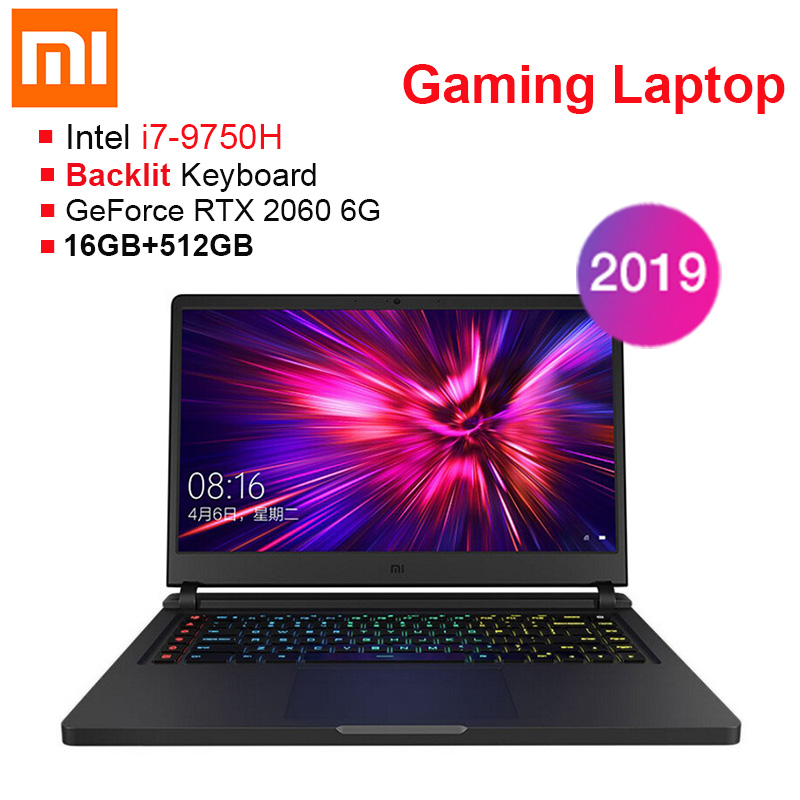 2019 Xiaomi Gaming Laptop 15.6'' Windows 10 Intel Core I7-9750H Hexa Core 16GB RAM 512GB SSD Notebook For Business Game Office
