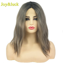 Joy&luck Short Wavy Lace Front Wig Black Ombre Brown Color Syntheitc Wi