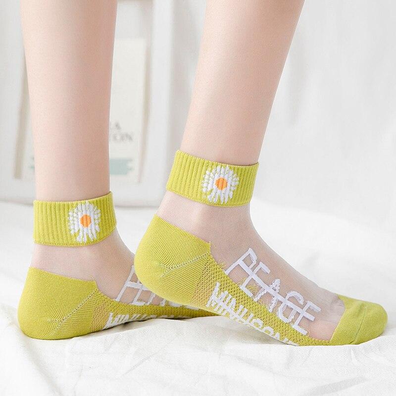 HYRAX Цветочные носки 5 пар женские тонкие кружевные чулки с небольшим рисунком кружевные сексуальные модные женские носки с хризантемой