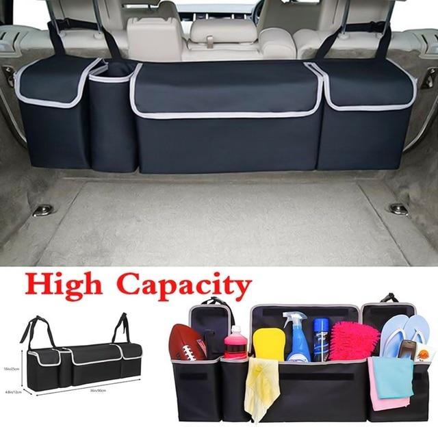 ออแกไนเซอร์รถTrunk Adjustable Backseat Storageกระเป๋าสุทธิความจุสูงMulti ใช้Oxfordรถยนต์ที่นั่งกลับOrganizer Universal