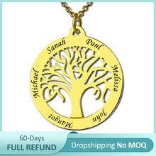 Kochanie Dropshipping konfigurowalny naszyjnik drzewo życia grawerowane 6 nazwa srebrny/złoty walentynki urodziny na Ebay/Amazon