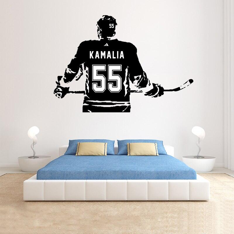 Hockey sticks wall silhouette,Hockey puck decal name number,boys room decor