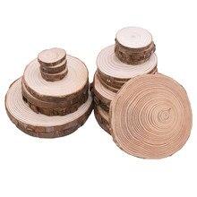 3-12cm fatias de madeira redondas naturais com casca de árvore inacabado círculos de pinho ornamentos de madeira festa de casamento diy pintura artesanato de madeira