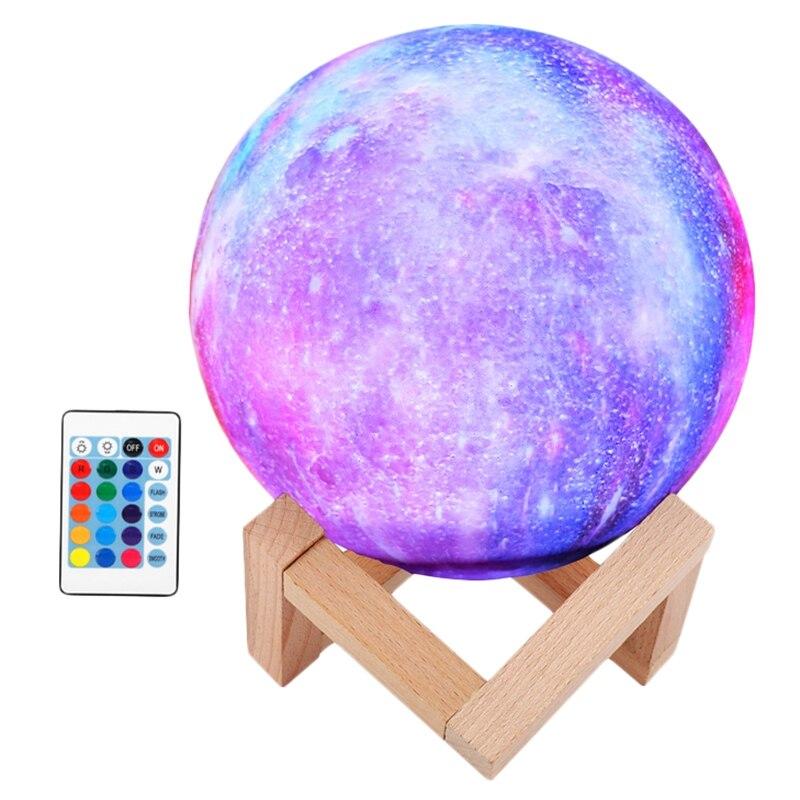 Starry Moon Lamp 3D Print Lunar Night Light 16 Colors Remote Control & Press Sensor USB Recharge LED Dimmable Moonlight Lamps fo|Desk Lamps| |  - title=