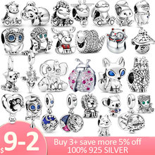 Heißer Verkauf 925 Sterling Silber marienkäfer eule, katze, hund fuchs Charme Perlen fit Original Pandora Armband Silber Schmuck Tier Sammlung