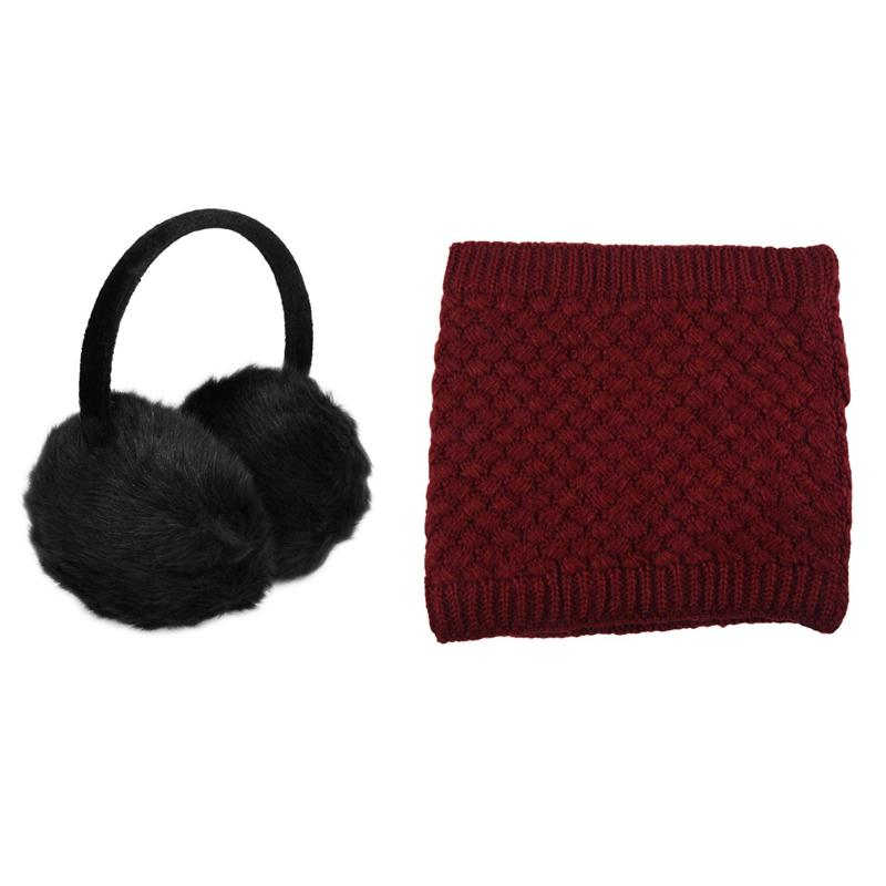 ABDB-1Pcs Lady Woman Headband Black Faux Fur Winter Ear Cover Earmuffs With 1Pcs Warm Knitted Scarves Collar Neck Warmers Winter