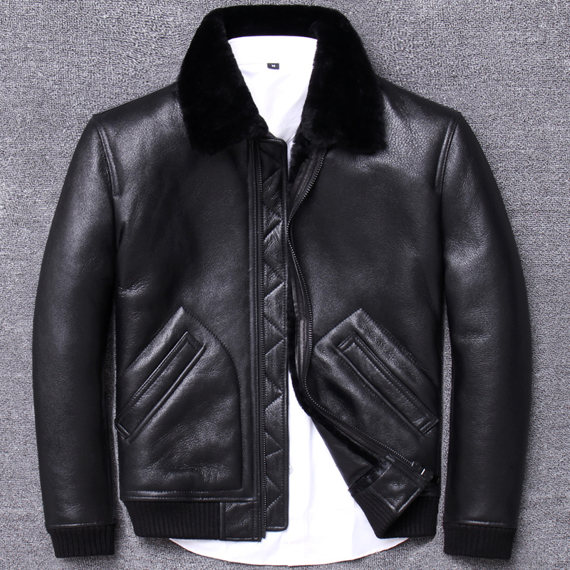 2020 Winter Genuine Leather Jacket Sheep Shearling Coat For Men Real Wool Fur Lining Motorcycle Este Cuir Homme U204 KJ3196
