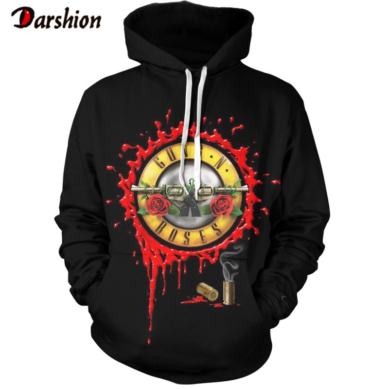 Male's Hoodies Sweatshirts Men Funny 3D Roses And Guns Brand Plus Size XXS-4XL Animal Printed Hoodies For Male Unisex Pullovers