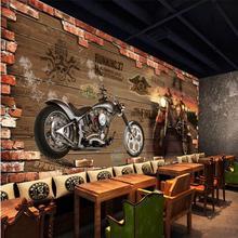 На заказ 3d Фреска интернет кафе 3D винтажная мотоциклетная машина деревянная кирпичная стена Европейская ретро кафе Спальня Гостиная Фреска обои