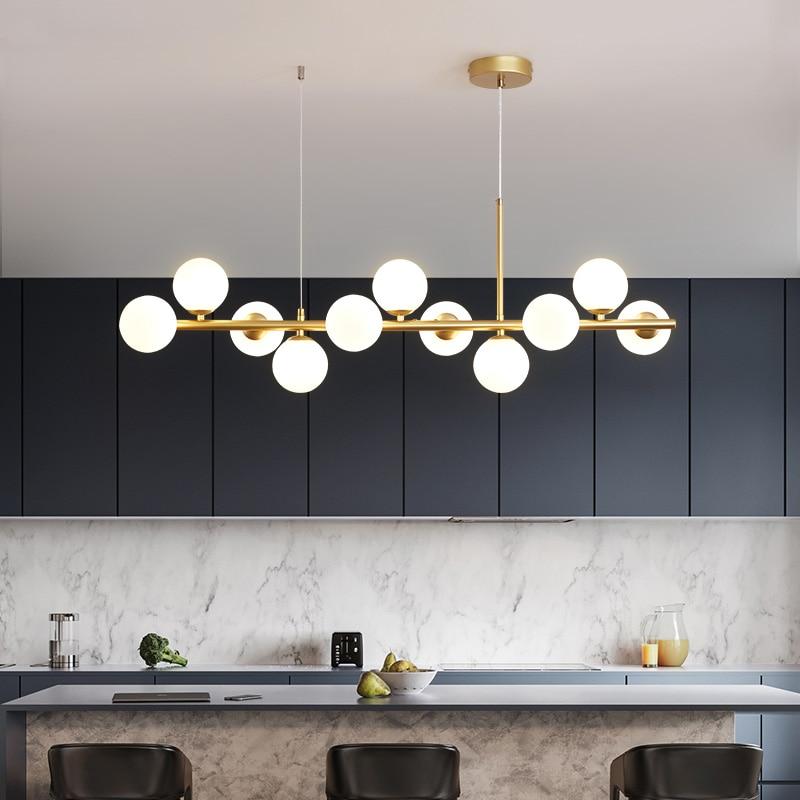 Nordic ouro conduziu a luz pingente de vidro moderno bola 11 cabeças lâmpada pendurada para cozinha sala estar jantar suspensão luminária design