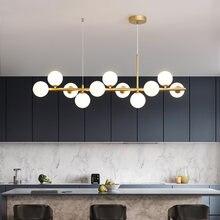 Светодиодный подвесной светильник в скандинавском стиле, современный стеклянный светильник с 11 шариками, дизайнерская лампа для кухни, гос...