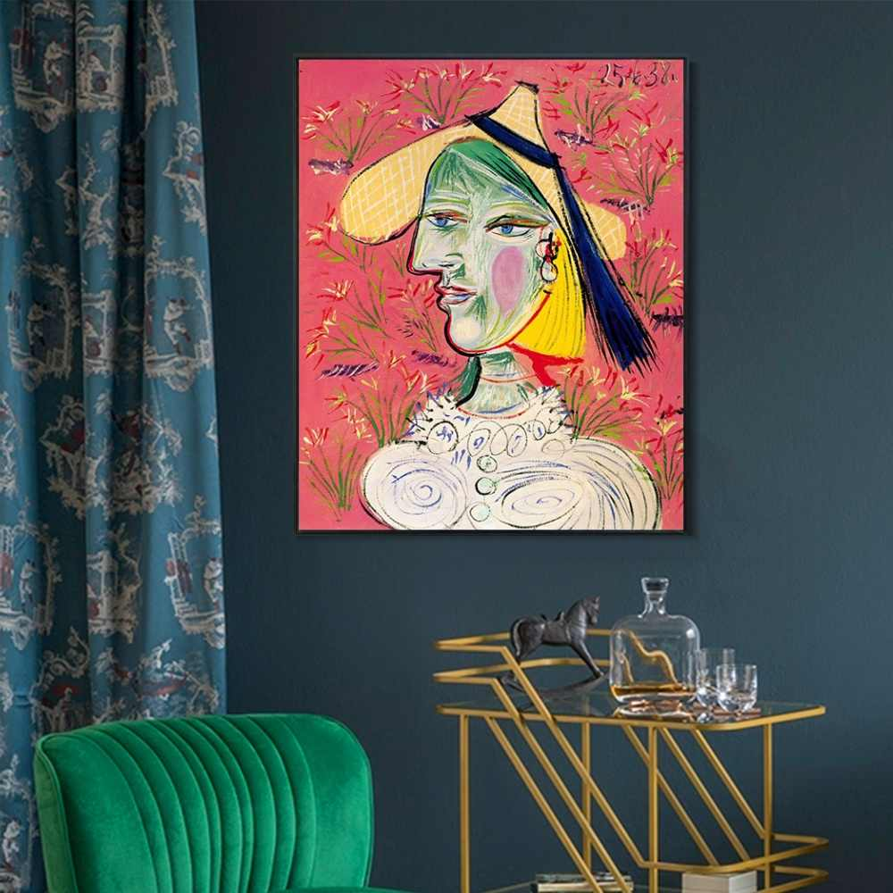 1938 Femme au chapeau de paille sur fond fleuri By Picasso Painting Canvas Print Poster Wall Art Picture For Home Decor