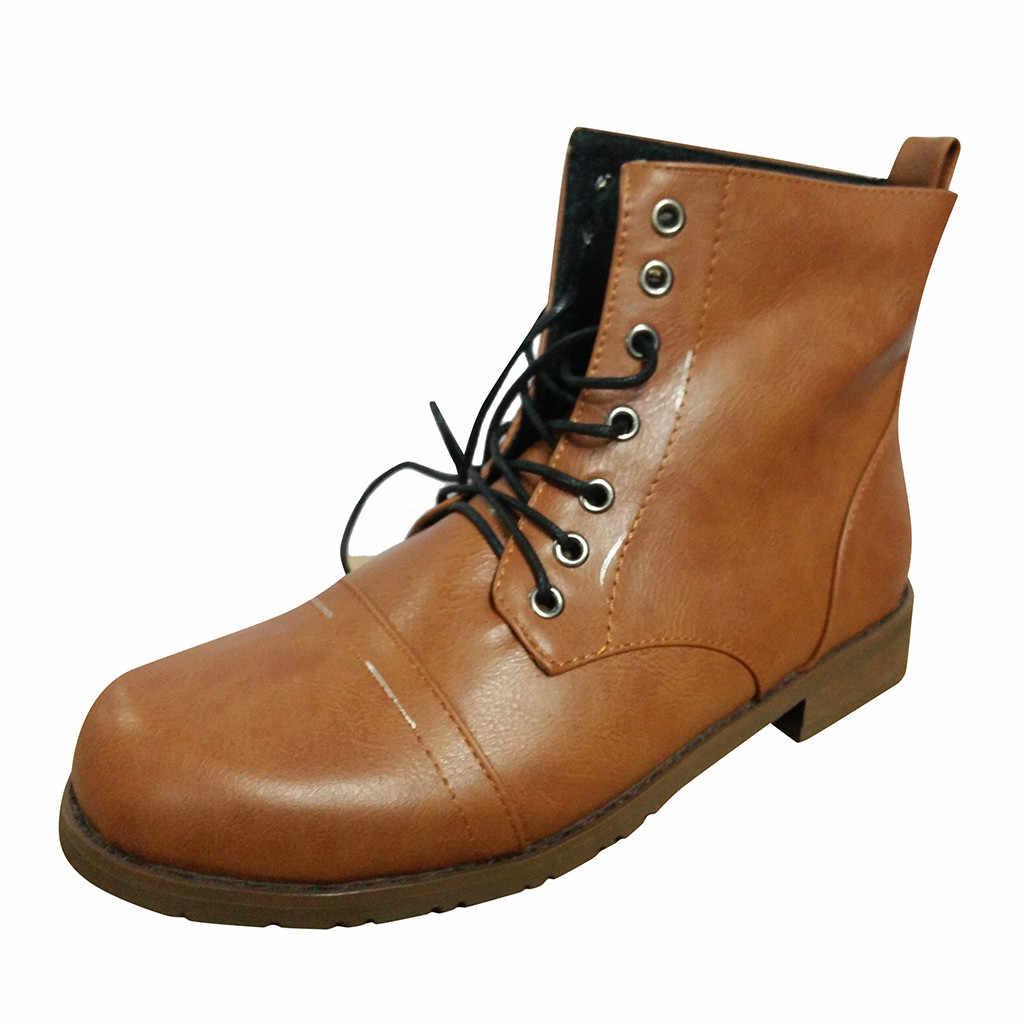 บุรุษข้อเท้า 2019 แฟชั่นฤดูหนาวรองเท้ารอบ Toe รองเท้าส้นสูง Lace-Up รองเท้า Western กลางหลอดรองเท้า chaussure homme