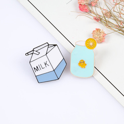 Kawaii Cute Boxed Milk Brooches Cartoon Lemon Cup Enamel Pin Clothes Backpack Lapel Pins Metal Badges Jewelry Gift Kids Friends