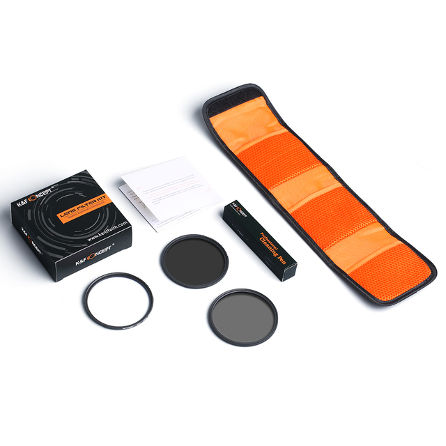 K&F Concept Filter Kit Netural Density ND4 MC UV CPL filter Camera Lens Bundle 1pcs Cleaning Pen and Filter Pouch 58mm 62mm 67mm 6