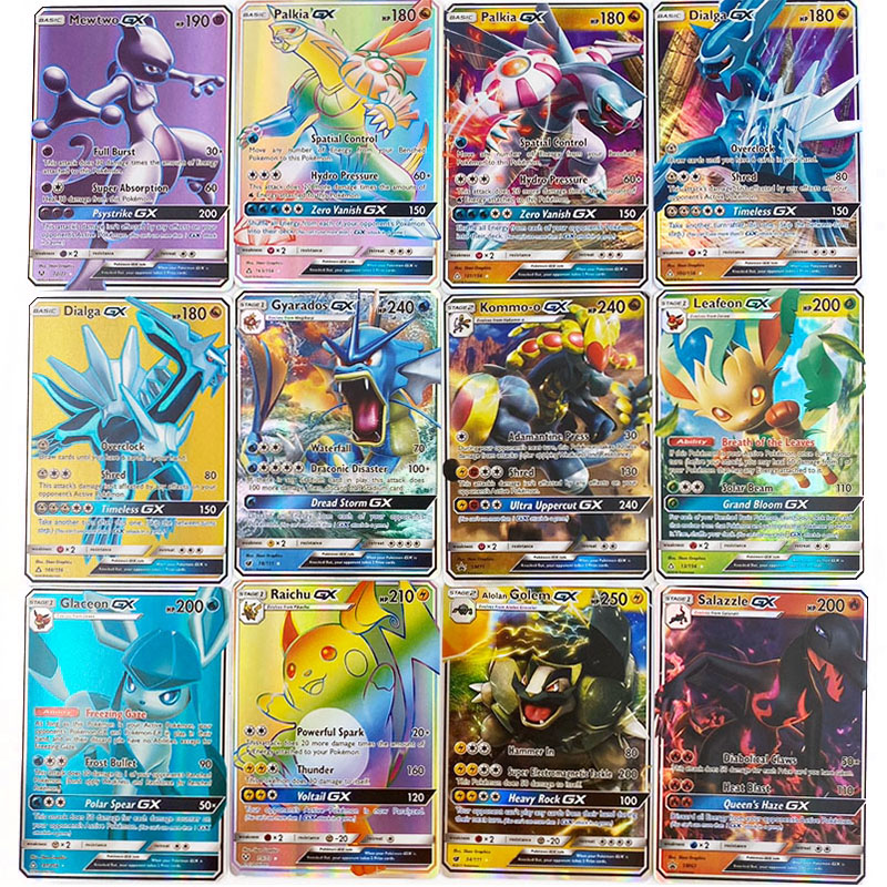 300 Pcs No Repeat Pokemon Card GX Shining TAKARA TOMY Game Battle Carte Trading Children Toy