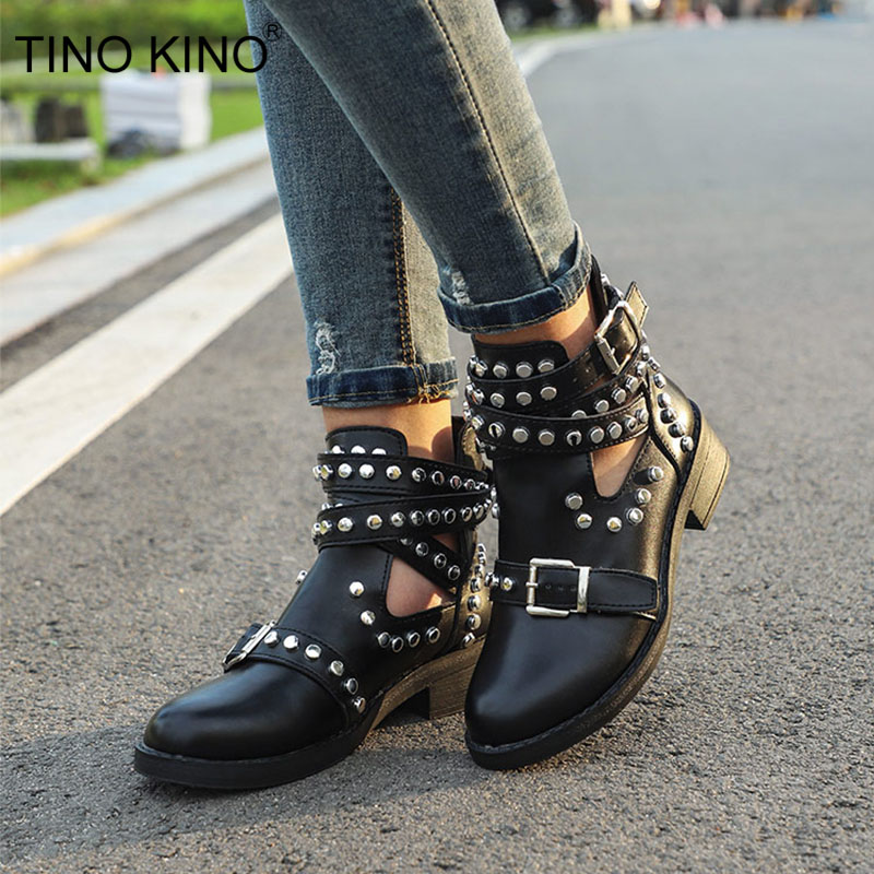 Women Ankle Boots Rivet Buckle Strap Gladiator Autumn Ladies Punk Motorcycle Boot Women's Platform Shoes Chunky Heels Female