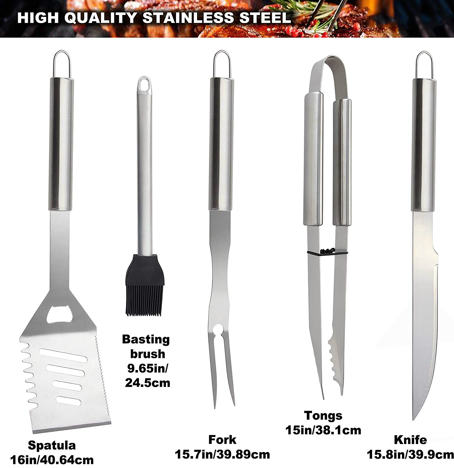 26Pcs Barbecue Tool Set Stainless Steel Stick Fork Brush Spatula BBQ Accessories
