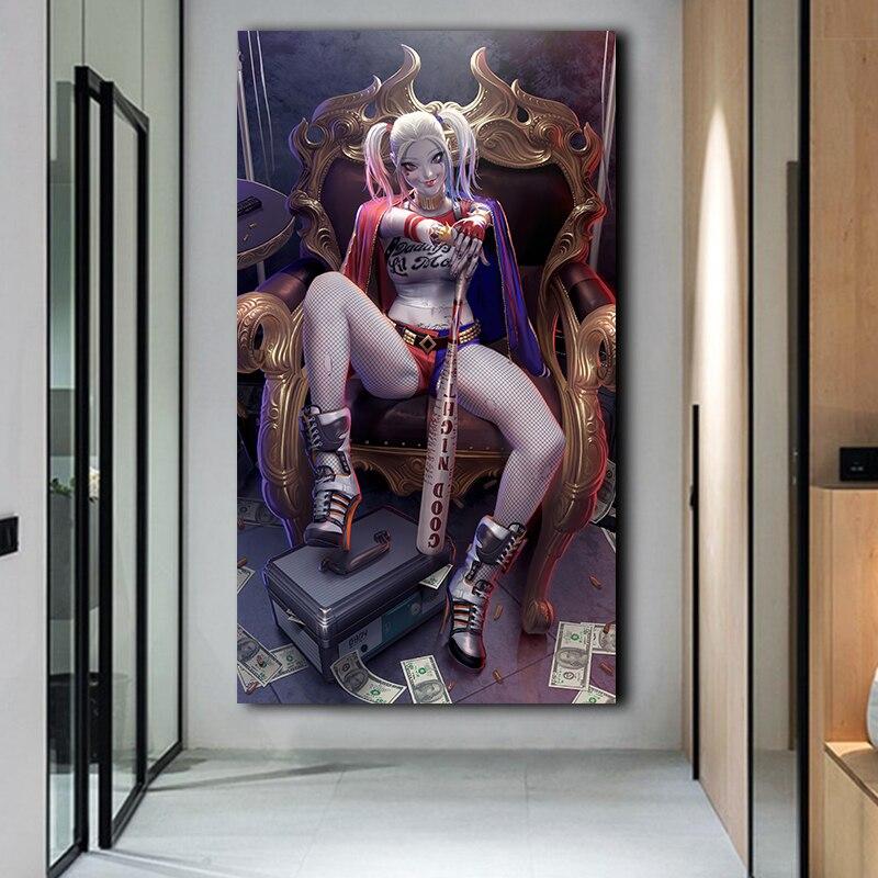 Jogo harry quinn hd impresso lona pintura cartaz e impressão modular parede arte fotos cuadros para sala de estar decoração casa