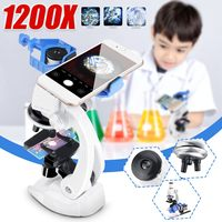 Becornce 100X 400X 1200X 학생 어린이 현미경 세트 휴대 전화 홀더 과학 교육 선물 완구