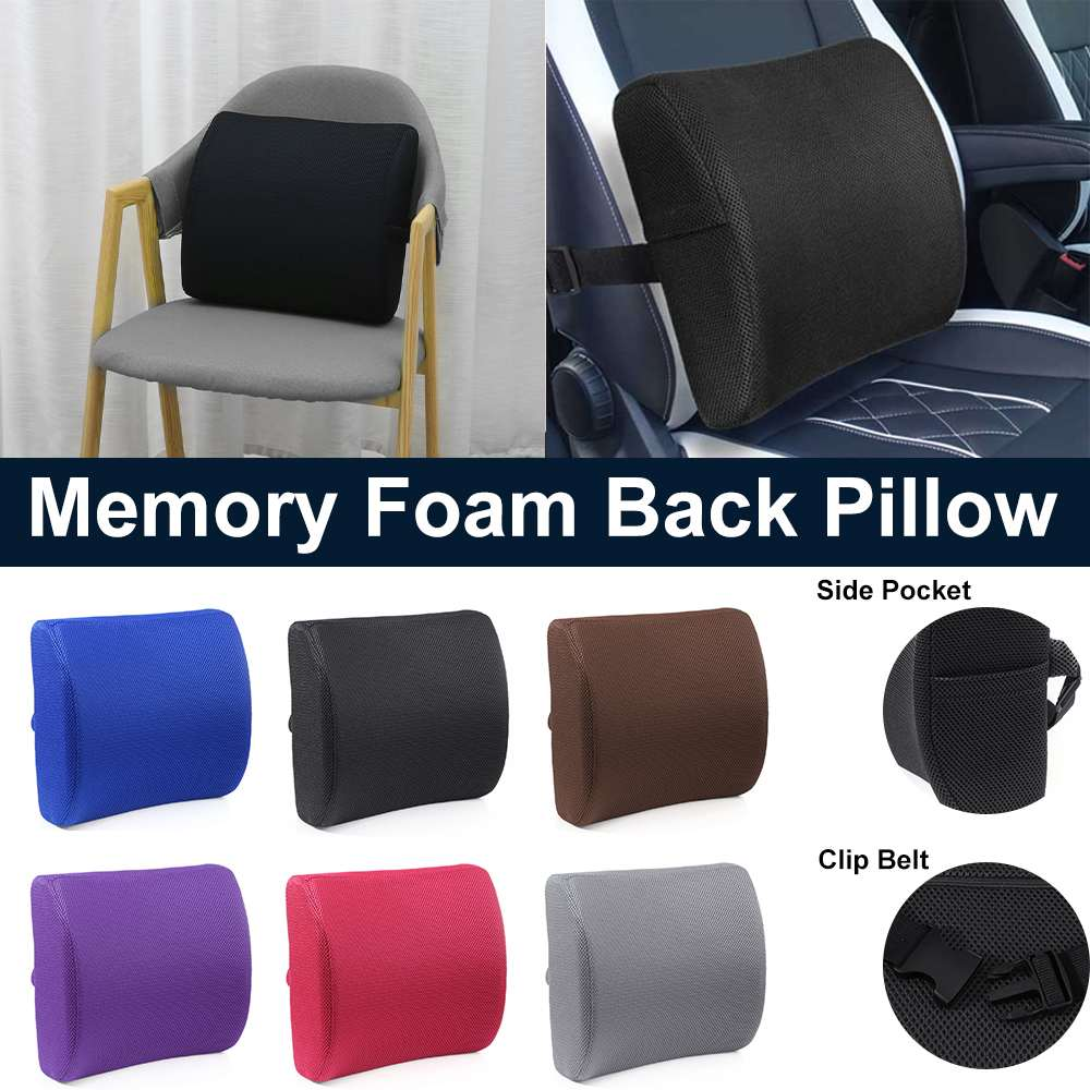 4 Color Soft Memory Foam Car Seat Winter Pillows Lumbar Support Back Massager Waist Cushion For Chairs Home Office Relieve Pain