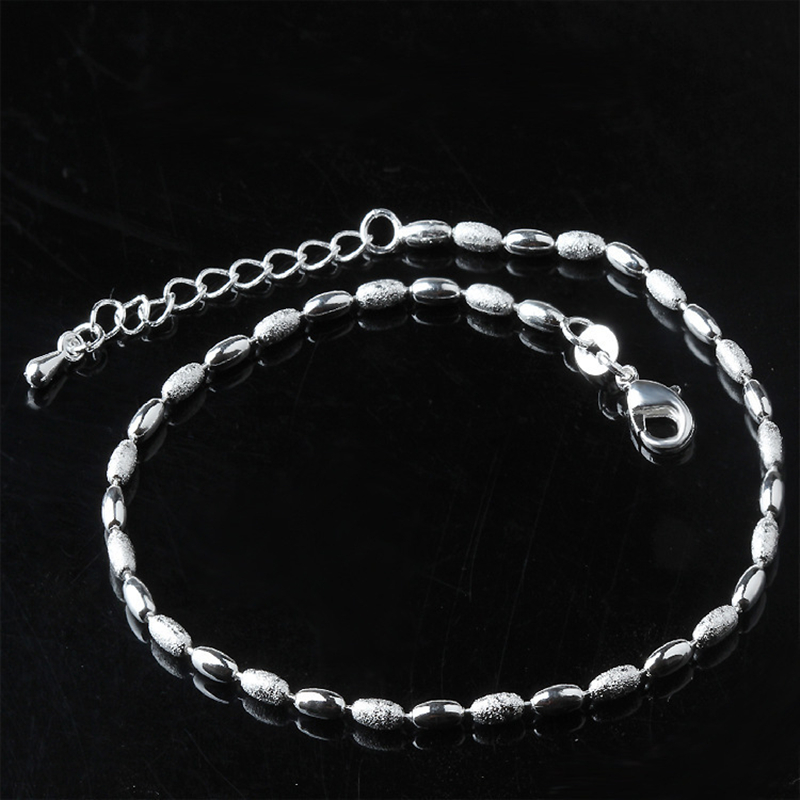 New Arrival Fashion 925 Sterling Ladies Silver Anklets Olive Kernel Bead Manual Anklet Bracelet For Women & Girl Jewelry