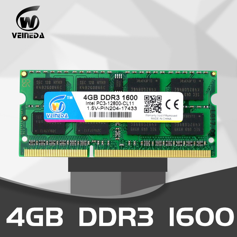 VEINEDA Ddr3 4gb 8 Gb 1333 1600 SODIMM PC3-10600 204pin 1.5V Memory For Laptop RAM,compatible With All Motherboard