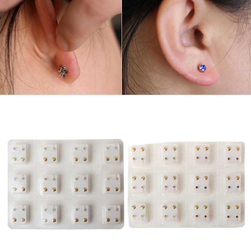 12 Pairs Gold No Pain Sterile Ear Piercing Earrings Set Gun Piercer Tool Kit Hypoallergenic Mini 3mm CZ Studs Jewelry Disposable