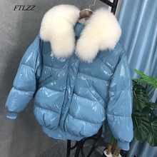 Parka Fox-Fur-Collar White-Duck-Down Bright-Side Female Winter Real New Warm Thick Bomber
