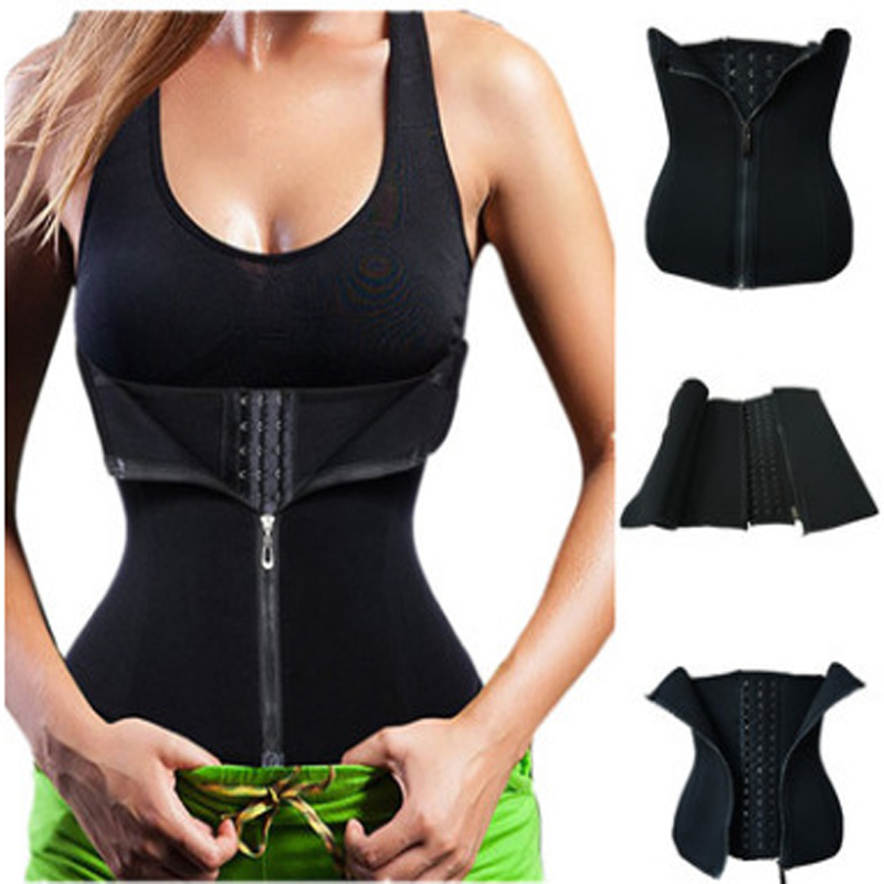Neoprene Sauna Sweat Waist Cincher Zipper Corsets Hot Body Shaper Tummy Trimmer Shapewear
