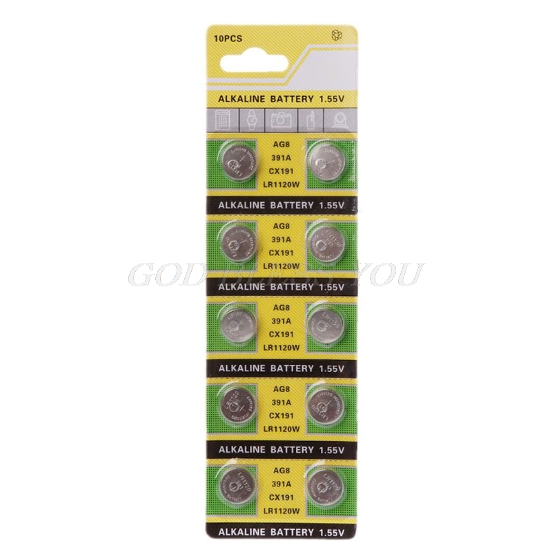 10PCS Watch Battery AG8 1.55V Li-ion Button Coin Cell Batteries LR1120 391 SR1120 191 LR55 Toys Remote Camera CPU Drop Shipping