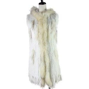 Image 4 - Новый жилет из натурального меха Harppihop, вязаный жилет из натурального кроличьего меха с капюшоном, длинное пальто, женские зимние жилеты