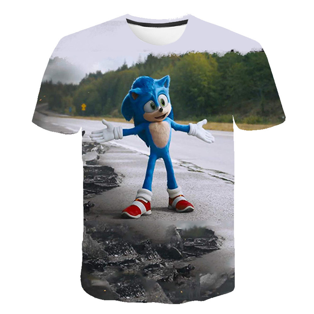 3D Printed Sonic The Hedgehog Summer Boy and Girl Suit T-Shirt and Shorts Suit