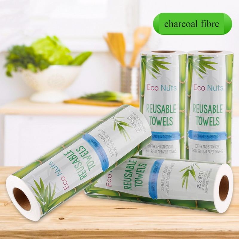 25PCS Reusable Fiber Towels Fiber Kitchen Cleaning Cloth Paper Towel Roll Washable Dish Cloths Clean Washing Towel 28*30CM