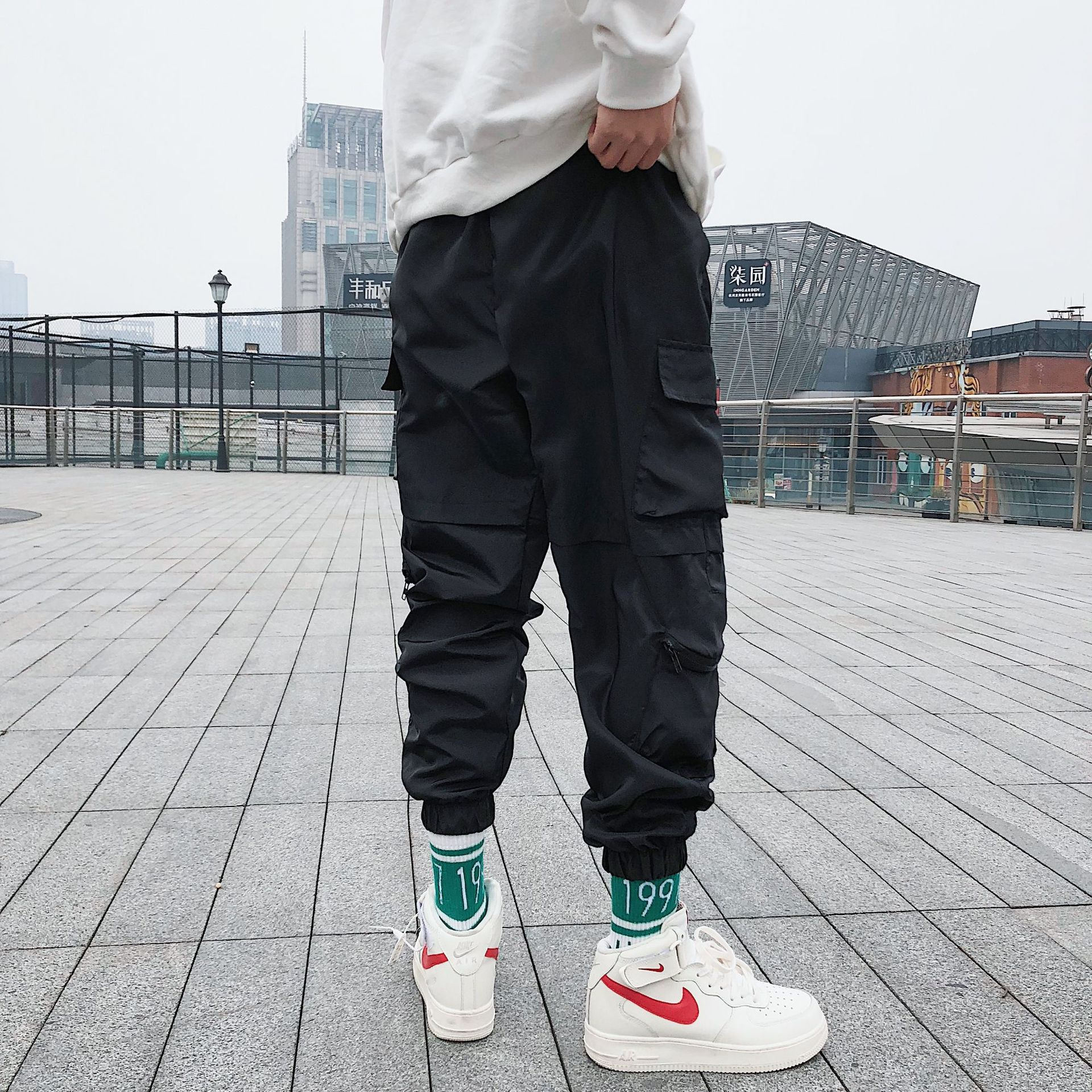 Bib Overall Men's Korean-style Trend Hong Kong Style MEN'S Casual Pants Loose-Fit Students INS Popular Brand Harem Pants Sub-Har