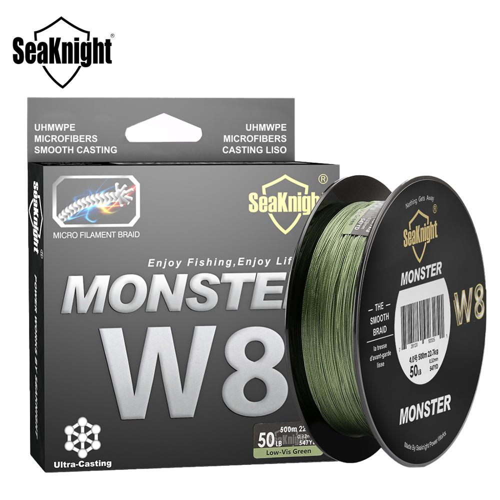 SeaKnight MONSTER W8 Braided Fishing Line 500M 8 Strands Wide Angle Tech Multifilament Braid PE Line Saltwater 15 20 30 50 100LB