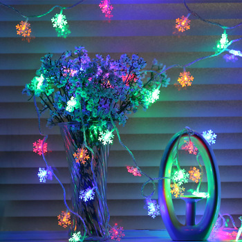 New USB Powered Christmas Tree Snow Flakes Led String Fairy Lights Xmas Party Home Wedding Garden Garland Holiday Decoration