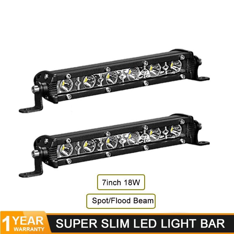 High Quality 7 Inch 18w Slim Led Light Bar Flood Spot LED Bar For Jeep Truck Trailer Offroad ATV TV Car 4WD Driving Work Lamp