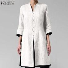 Damskie miękka bawełniana jednokolorowa bluza lato jesień luźne koszula Plus Size O-Neck z długim rękawem bluzki damskie w stylu Vintage Casual przycisk tunika